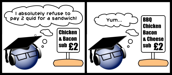 *Chicken & Bacon sub = £2* 'I absolutely refuse to pay 2 quid for a sandwich!' ... *BBQ Chicken Bacon & Cheese sub = £2* 'Yum...'